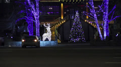Night traffic ground view in Moscow, Russia, Sadovoe Koltso street, restarant Stock Footage