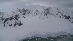 Darkening winter mountain aerial, Antarctica - stock footage