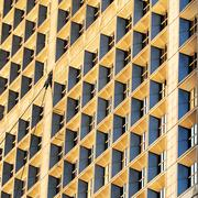 """windows of the """"grande arche"""" in paris - stock photo"""