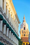 cartagena cathedral spire - stock photo