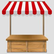 store window  with striped awning - stock illustration