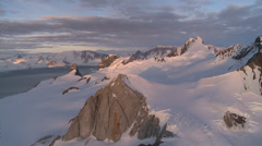 Mountain peaks at sunset, Antarctica - stock footage