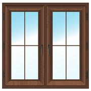 Wooden  closed double window. Stock Illustration