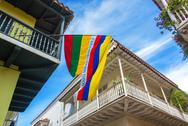 Stock Photo of balconies and flags