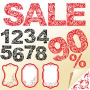 Word sale, numerals and letters are made of floral ornament. set of shop labe Stock Illustration