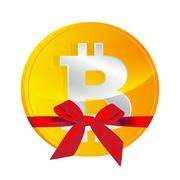 Bitcoin coin  with gift bow isolated Stock Illustration