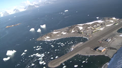 Aerial of Rothera Research Station, Antarctica Stock Footage
