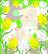 Lovely white and yellow tulips in bloom on an abstract background Stock Illustration