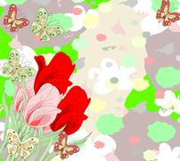 Beautiful bouquet of red and pink tulips and butterflies on an abstract backg Stock Illustration