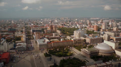 stock footage aerial view Novosibirsk flying over the square of ​​Lenin - stock footage