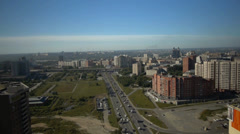 Stock footage aerial view Novosibirsk, flight over the city Stock Footage