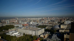 Stock footage aerial view Novosibirsk flight to the city center Stock Footage