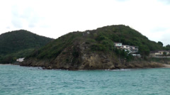 Antigua st. john's 151, residential villas on a cliff and at a beach, evening Stock Footage