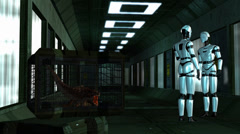 I Robots in a Spaceship Corridor - Video Background Stock Footage