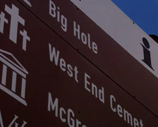 Road sign for the 'Big Hole' in Kimberley Stock Footage