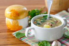 Soup with mushrooms Stock Photos