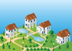 village houses in the vector - stock illustration