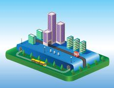 Stock Illustration of isometric view of the city