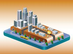 view of the city - stock illustration