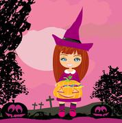 Girl in witch costume holding pumpkin with candy Stock Illustration
