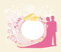 card with love couple and floral arch designed for wedding invitation. - stock illustration