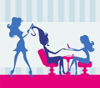 girl in a beauty salon, manicure and hairdresser - stock illustration