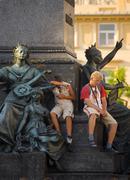 poland krakow, monument to great polish poet adam mickiewicz, detail - stock photo