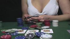 Very beautiful woman playing texas hold'em poker Stock Footage