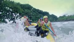 Seniors on rafting adventure On board camera Stock Footage