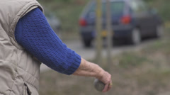 Petanque / Boules Player Throwing Ball in Slow Motion Stock Footage