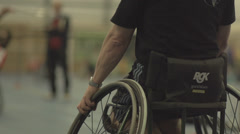 Wheelchair Player Plays Badminton in Slow Motion. Stock Footage