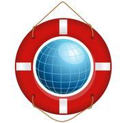 blue earth and lifesaver - stock illustration