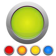 Glossy button set on white background Stock Illustration