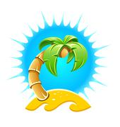 Island with palm and sand beach Stock Illustration