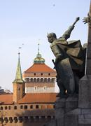 poland krakow, monument commemorating the battle of grunwald, 15 july 1410, w - stock photo