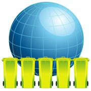 Earth globe with garbage bin,concept of environment pollution Stock Illustration