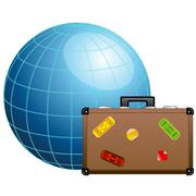 Travel concept. blue globe and travel suitcase. Stock Illustration
