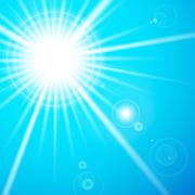 Star and sun with lens flare. Stock Illustration