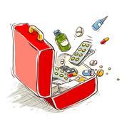 First aid box with medical drugs and pills - stock illustration
