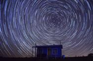 Stock Photo of Cabin Star Trails
