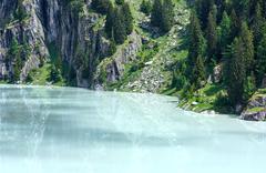 Summer mountain canyon and dam (alps, switzerland) Stock Photos