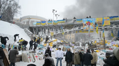 Protesters in the city center during Euro maidan meeting in Kiev, Ukraine. Stock Footage