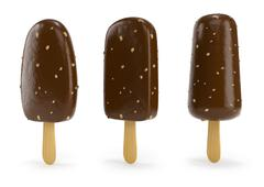 Chocolate ice-cream with nut on stick 3d illustration - stock illustration