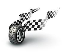 Sport racing wheel with flapping flags Stock Illustration