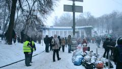 Protesters near Valeriy Lobanovskyi Dynamo Stadium, Euro maidan meeting in Kiev. Stock Footage