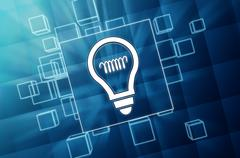 Light bulb sign in blue glass blocks Stock Illustration