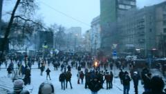 Protesters near Valeriy Lobanovskyi Dynamo Stadium, Euro maidan meeting, Kiev. Stock Footage