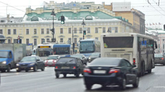 Cityscape of Saint Petersburg with day traffic at Nevsky prospect Stock Footage