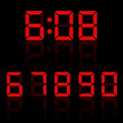 Red clock digits - stock illustration