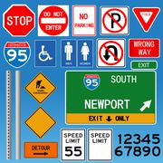 Road signs vector collection - stock illustration